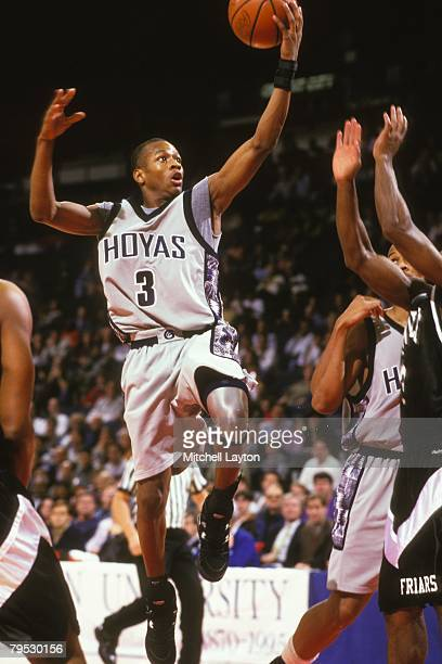 Allen Iverson of the Georgetown Hoyas goes to the basket during a basketbal at Capital Centre on December 10 1994 in Landover Maryland