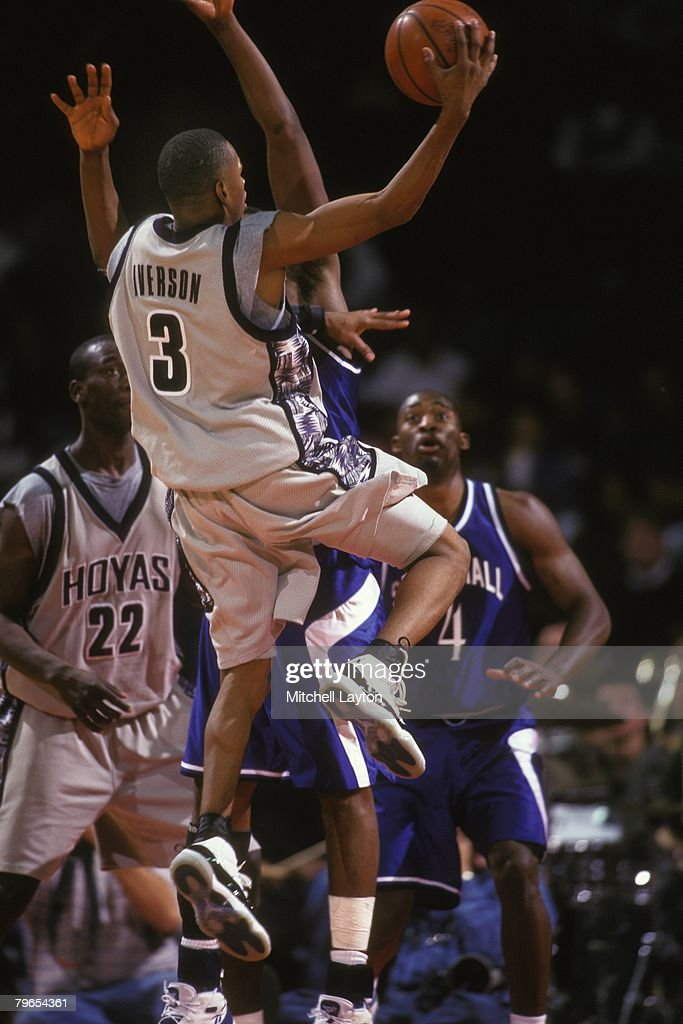 Allen Iverson #3 of the Georgetown Hoyas goes to the basket during a basketball game against the Seton Hall Pirates at Capital Centre on January 15, 1996 in Landover, Maryland.