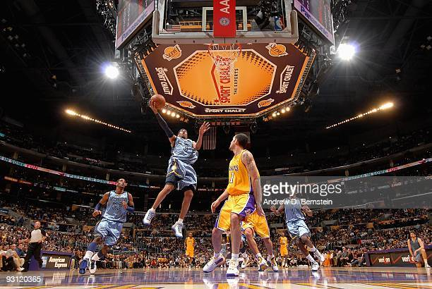 Allen Iverson of the Memphis Grizzlies goes to the basket against the Los Angeles Lakers during the game on November 6 2009 at Staples Center in Los...