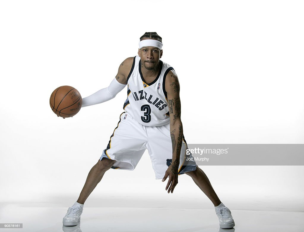 Allen Iverson #3 of the Memphis Grizzlies poses for a photograph during a photoshoot after a press conference announcing his signing with the Grizzlies on September 10, 2009 at FedExForum in Memphis, Tennessee.