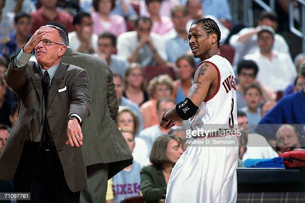 Allen Iverson of the Philadelphia 76ers and 76ers head coach Larry Brown express their frustration during game four of the 2001 NBA Finals against...