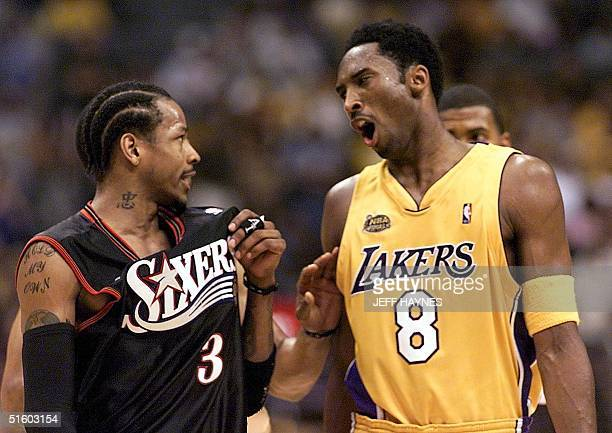 Allen Iverson of the Philadelphia 76ers and Kobe Bryant of the Los Angeles Lakers exchange words at the end of game two of the NBA Finals 08 June...