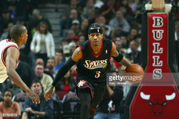Allen Iverson of the Philadelphia 76ers controls the ball against the Chicago Bulls during the game on April 8 2006 at the United Center in Chicago...