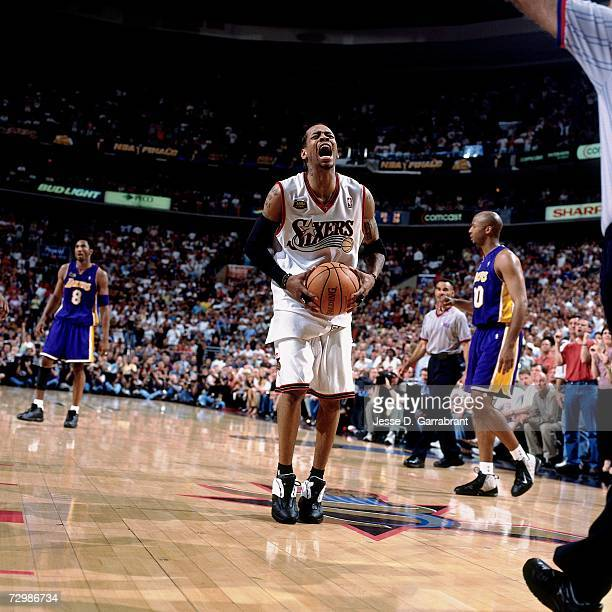 Allen Iverson of the Philadelphia 76ers displays emotion against the Los Angeles Lakers during a 2001 NBA game at the First Union Center in...