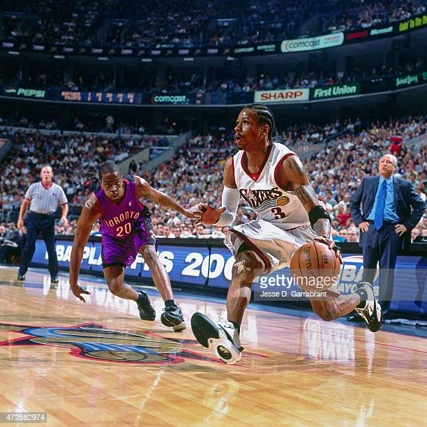 Allen Iverson of the Philadelphia 76ers dribbles against the Toronto Raptors in Game two of the Eastern Conference Semifinals on May 9 2001 at the...