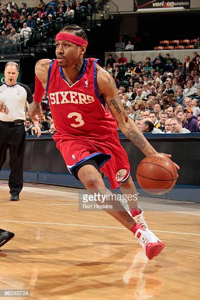 Allen Iverson of the Philadelphia 76ers drives against the Indiana Pacers during the game on January 23 2010 at Conseco Fieldhouse in Indianapolis...