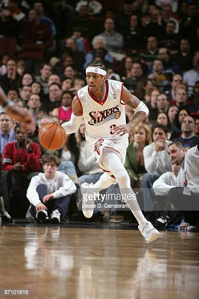 Allen Iverson of the Philadelphia 76ers drives against the Washington Wizards on March 3 2006 at the Wachovia Center in Philadelphia Pennsylvania The...
