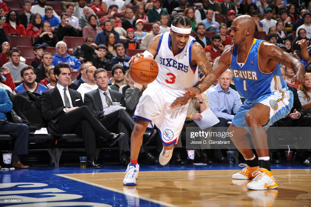<a gi-track='captionPersonalityLinkClicked' href=/galleries/search?phrase=Allen+Iverson+-+Basketball+Player&family=editorial&specificpeople=201479 ng-click='$event.stopPropagation()'>Allen Iverson</a> #3 of the Philadelphia 76ers drives the ball against <a gi-track='captionPersonalityLinkClicked' href=/galleries/search?phrase=Chauncey+Billups&family=editorial&specificpeople=201508 ng-click='$event.stopPropagation()'>Chauncey Billups</a> #1 of the Denver Nuggets during the game on December 7, 2009 at the Wachovia Center in Philadelphia, Pennsylvania.