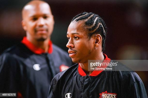Allen Iverson of the Philadelphia 76ers during the game against the Charlotte Hornets on April 8 1998 at CoreStates Center in Philadelphia...