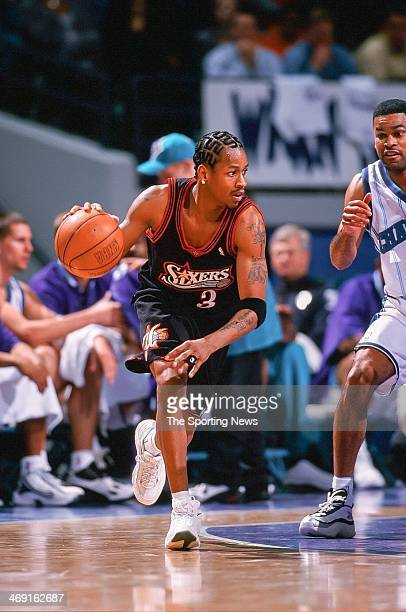 Allen Iverson of the Philadelphia 76ers during the game against the Charlotte Hornets on February 5 1999 at Charlotte Coliseum in Charlotte North...