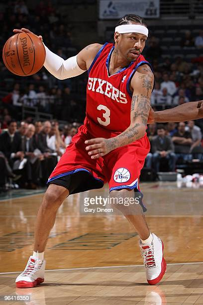 Allen Iverson of the Philadelphia 76ers handles the ball against the Milwaukee Bucks during the game on January 27 2010 at the Bradley Center in...