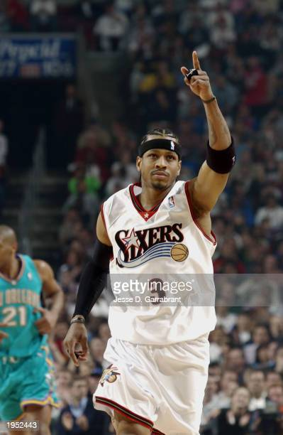 Allen Iverson of the Philadelphia 76ers ignites the crowd in Game one of the Eastern Conference Quarterfinals of the 2003 NBA Playoffs against the...