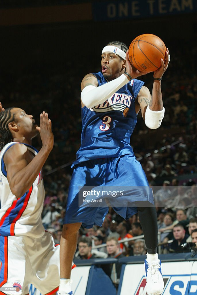 Allen Iverson #3 of the Philadelphia 76ers looks to pass against Latrell Sprewell #8 of the New York Knicks at Madison Square Garden on April 11, 2003 in New York, New York.