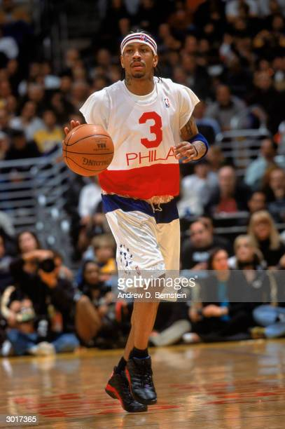 Allen Iverson of the Philadelphia 76ers maneuvers the ball upcourt against the Los Angeles Lakers during the NBA game at Staples Center on February...