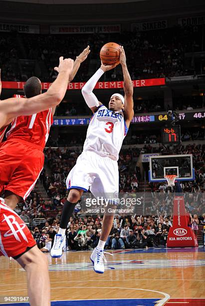 Allen Iverson of the Philadelphia 76ers shoots against the Houston Rockets during the game on December 11 2009 at the Wachovia Center in Philadelphia...