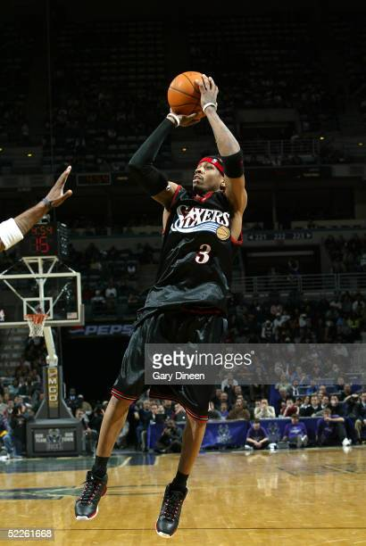 Allen Iverson of the Philadelphia 76ers shoots against the Milwaukee Bucks on March 1 2005 at the Bradley Center in Milwaukee Wisconsin NOTE TO USER...