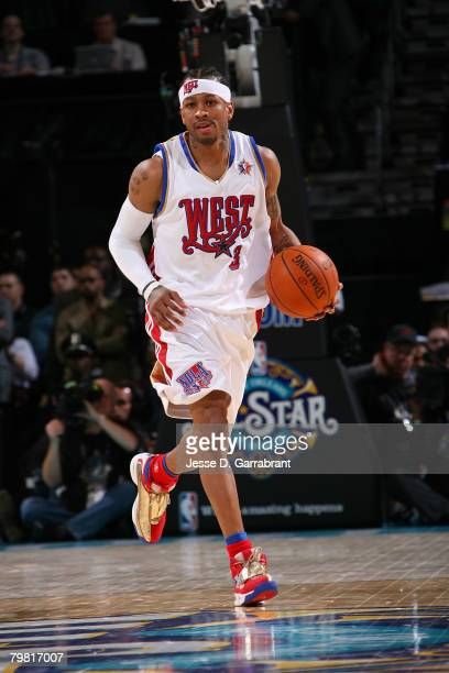 Allen Iverson of the Western Conference brings the ball up court during the 2008 NBA AllStar Game part of 2008 NBA AllStar Weekend at the New Orleans...
