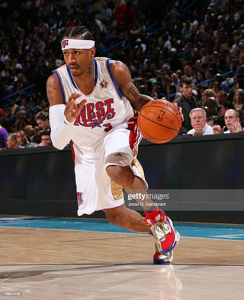 Allen Iverson of the Western Conference drives the ball during the 2008 NBA All-Star Game part of 2008 NBA All-Star Weekend at the New Orleans Arena on February 17, 2008 in New Orleans, Louisiana.