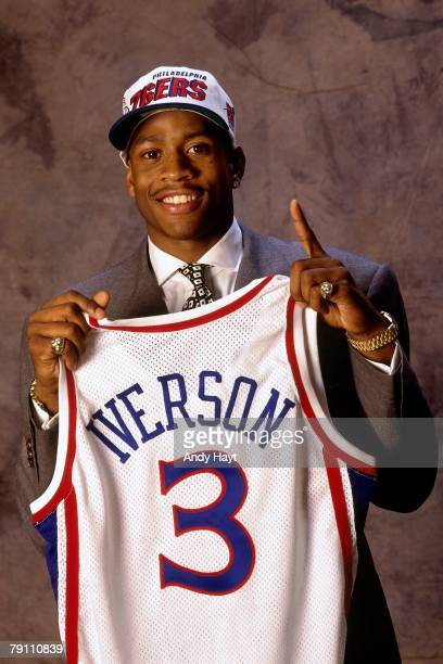 Allen Iverson poses for a portrait after being selected by the Philadelphia 76ers in the first round of the 1996 NBA Draft on June 26 1996 at Madison...