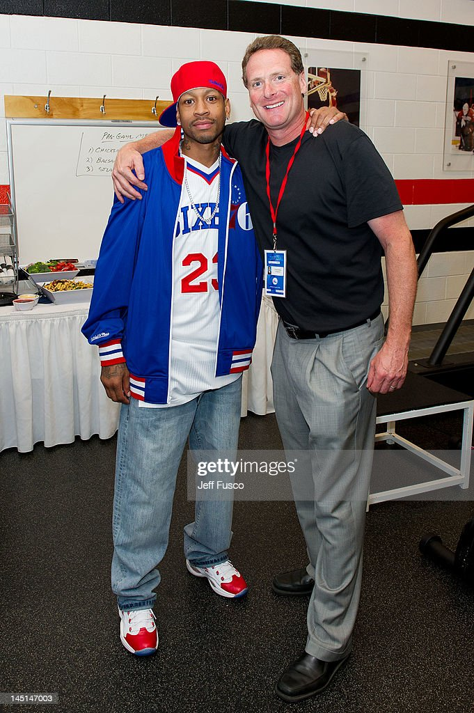 <a gi-track='captionPersonalityLinkClicked' href=/galleries/search?phrase=Allen+Iverson+-+Basketball+Player&family=editorial&specificpeople=201479 ng-click='$event.stopPropagation()'>Allen Iverson</a> (L) poses with Dr. Neil Liebman at the Wells Fargo Center on May 23, 2012 in Philadelphia, Pennsylvania. Iverson's original Reebok Question re-launches Friday, May 25th for the first time since 1996.