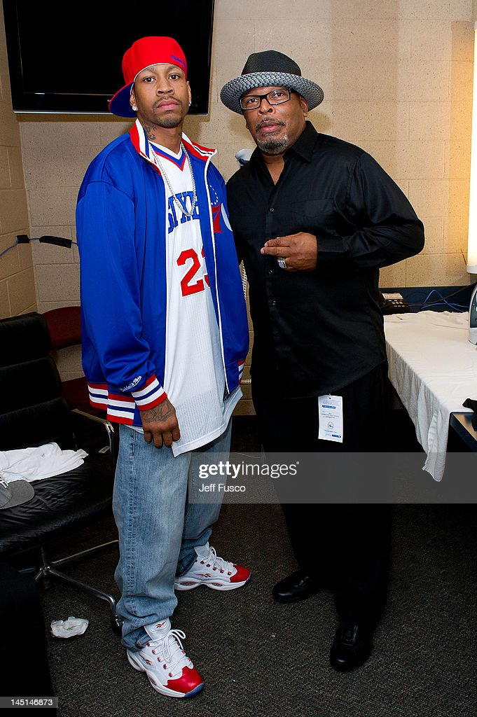 <a gi-track='captionPersonalityLinkClicked' href=/galleries/search?phrase=Allen+Iverson+-+Basketball+Player&family=editorial&specificpeople=201479 ng-click='$event.stopPropagation()'>Allen Iverson</a> (L) poses with Gary Moore at the Wells Fargo Center on May 23, 2012 in Philadelphia, Pennsylvania. Iverson's original Reebok Question re-launches Friday, May 25th for the first time since 1996.