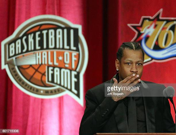 Allen Iverson reacts during his induction at the 2016 Basketball Hall of Fame Enshrinement Ceremony at Symphony Hall on September 9 2016 in...
