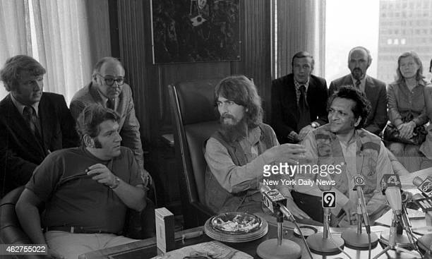 Allen Klein George Harrison and Ravi Shankar at today's press conference about their benefit show for the East Pakistan Refugee Children at Madison...