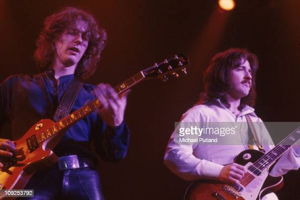 Allen Lanier and Buck Dharma from Blue Oyster Cult perform on stage United States circa 1977