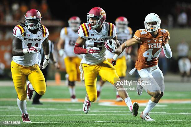 Allen Lazard of the Iowa State Cyclones breaks free against the Texas Longhorns on October 18 2014 at Darrell K RoyalTexas Memorial Stadium in Austin...