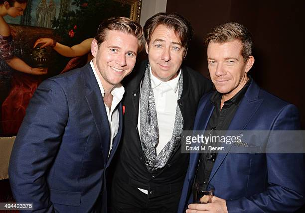 Allen Leech Jonathan Ross and Max Beesley attend the launch of the Tonino Lamborghini Antares Smartphone at No 41 Mayfair on May 29 2014 in London...