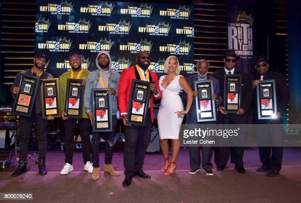 Allen Ritter Boi1da Sevn Thomas Richie Stephens Associate Director Rhythm Soul at ASCAP Cristina Chavez Clarence Avant Jimmy Jam and Terry Lewis pose...