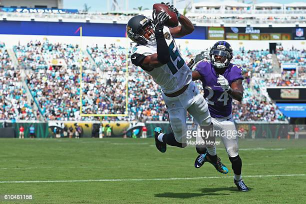 Allen Robinson of the Jacksonville Jaguars catches a touchdown pass in front of Kyle Arrington of the Baltimore Ravens at EverBank Field on September...