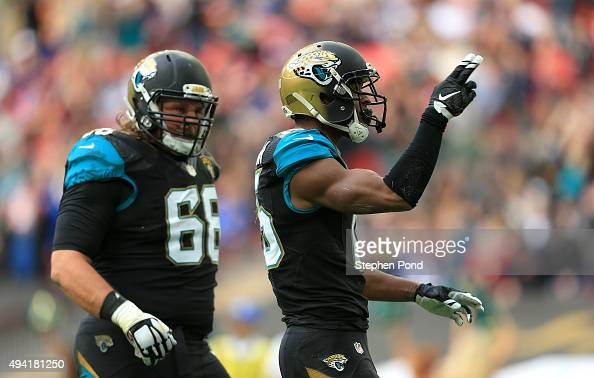 Allen Robinson of the Jacksonville Jaguars celebrates a touchdown during the NFL game between Jacksonville Jaguars and Buffalo Bills at Wembley...