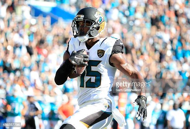 Allen Robinson of the Jacksonville Jaguars crosses the goal line for a touchdown during the game against the Miami Dolphins at EverBank Field on...