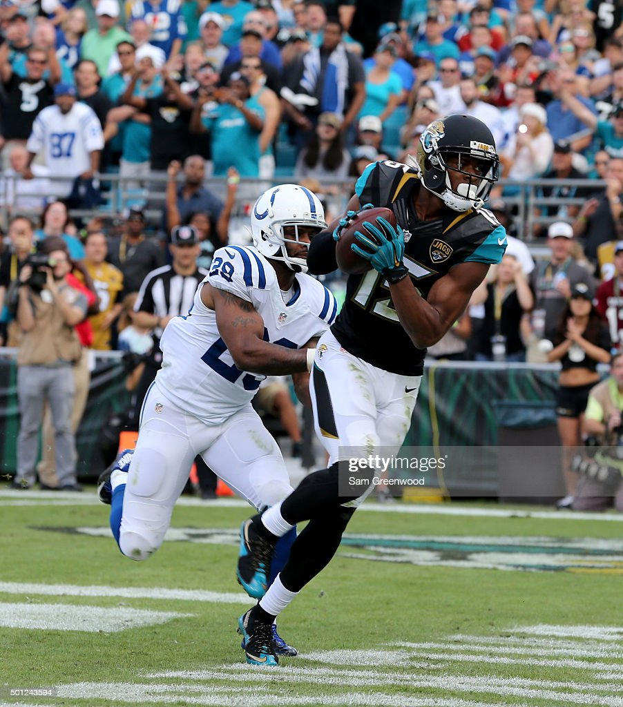 Allen Robinson #15 of the Jacksonville Jaguars crosses the goal line for a touchdown during the game against the Indianapolis Colts at EverBank Field on December 13, 2015 in Jacksonville, Florida.