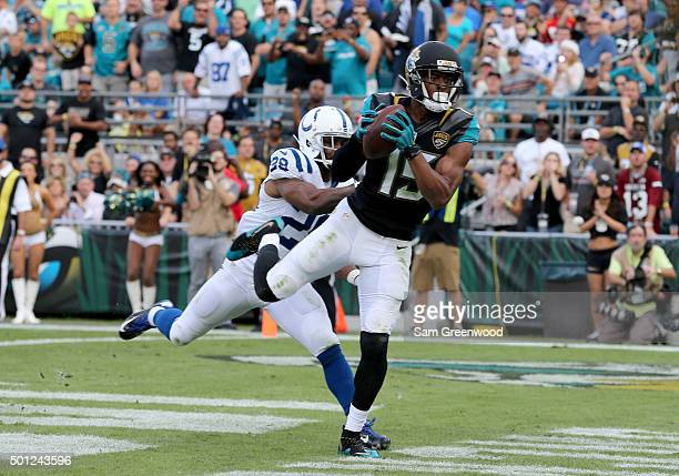 Allen Robinson of the Jacksonville Jaguars crosses the goal line for a touchdown during the game against the Indianapolis Colts at EverBank Field on...