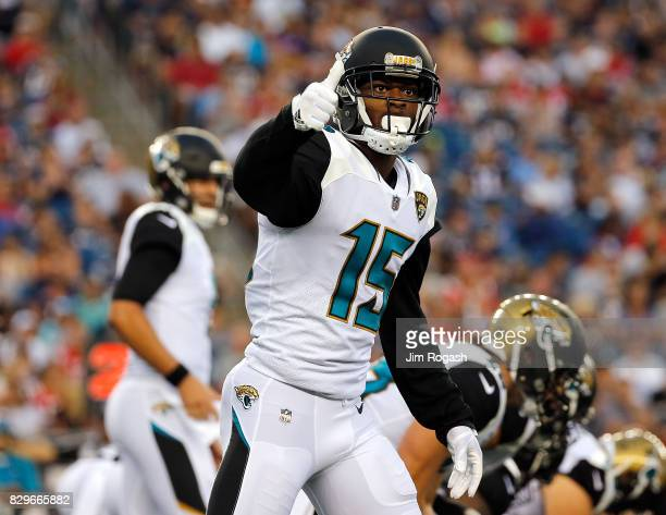 Allen Robinson of the Jacksonville Jaguars gestures in the first half during a preseason game with New England Patriots at Gillette Stadium on August...