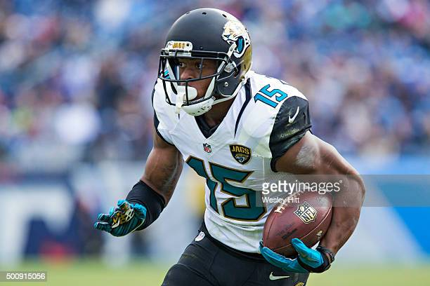Allen Robinson of the Jacksonville Jaguars runs the ball during a game against the Tennessee Titans at Nissan Stadium on December 6 2015 in Nashville...