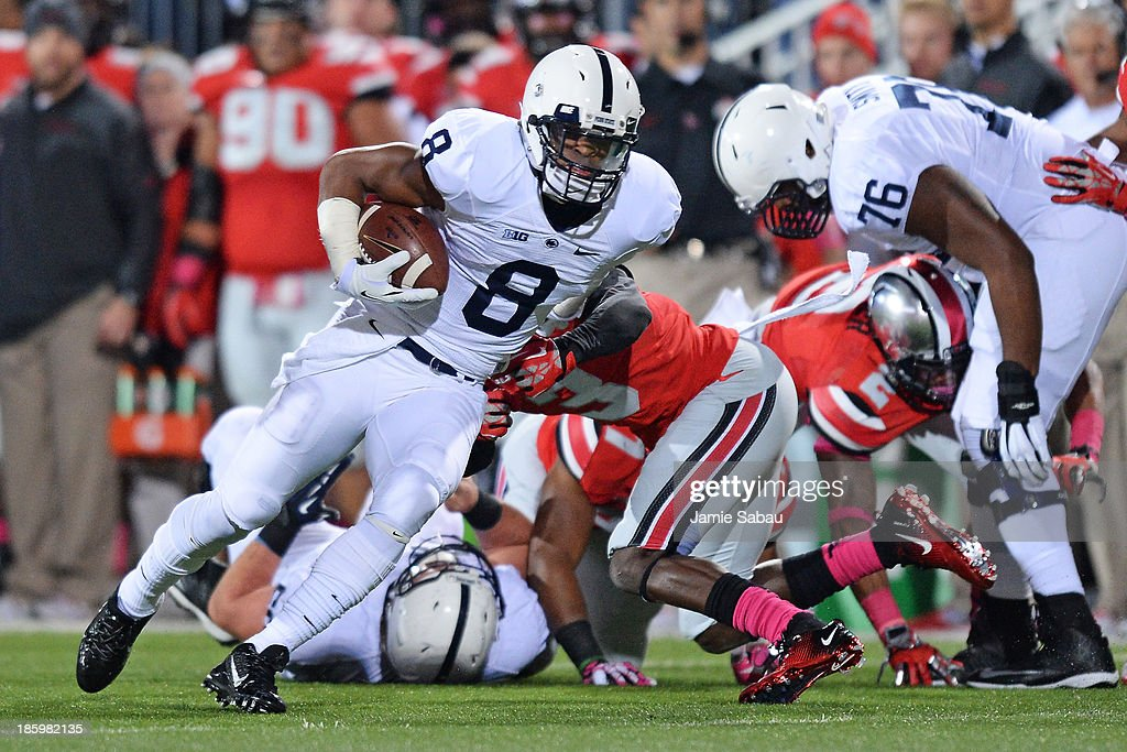 Allen Robinson #8 of the Penn State Nittany Lions runs upfield after a pass reception in the first quarter against the Ohio State Buckeyes at Ohio Stadium on October 26, 2013 in Columbus, Ohio. Ohio State defeated Penn State 63-14.