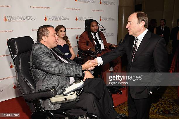 Allen T Brown Denna Laing Eric LeGrand and Gary Bettman attend the Christopher Dana Reeve Foundation hosts 'A Magical Evening' at Cipriani Wall...