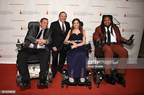 Allen T Brown Gary Bettman Denna Laing and Eric LeGrand attend the Christopher Dana Reeve Foundation hosts 'A Magical Evening' at Cipriani Wall...