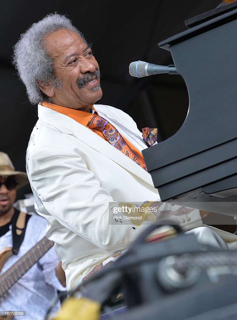 <a gi-track='captionPersonalityLinkClicked' href=/galleries/search?phrase=Allen+Toussaint&family=editorial&specificpeople=647620 ng-click='$event.stopPropagation()'>Allen Toussaint</a>s performs during the 2013 New Orleans Jazz & Heritage Music Festival at Fair Grounds Race Course on April 27, 2013 in New Orleans, Louisiana.