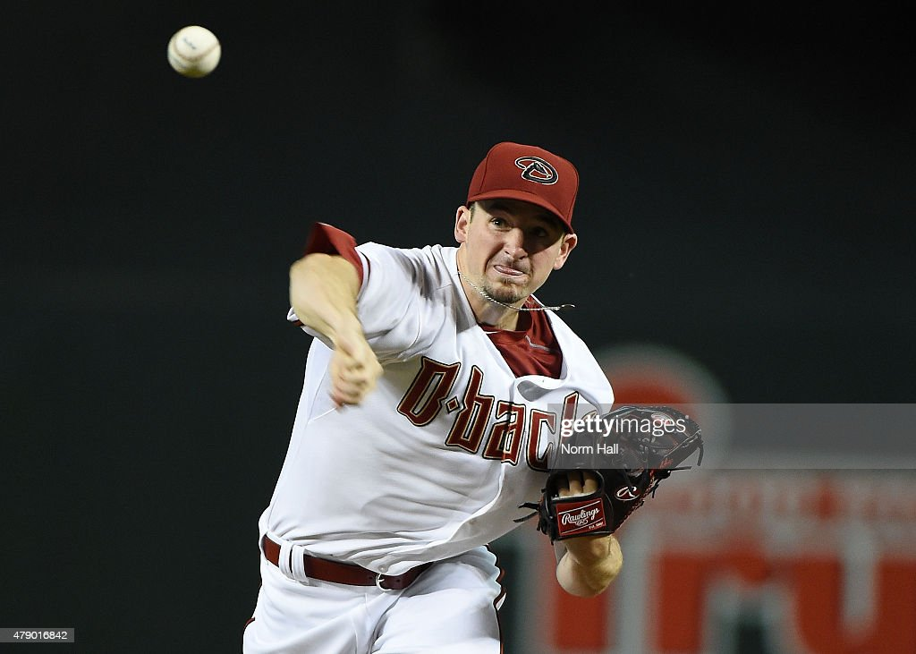 <a gi-track='captionPersonalityLinkClicked' href=/galleries/search?phrase=Allen+Webster&family=editorial&specificpeople=10504749 ng-click='$event.stopPropagation()'>Allen Webster</a> #27 of the Arizona Diamondbacks delivers a first inning pitch against the Los Angeles Dodgers at Chase Field on June 29, 2015 in Phoenix, Arizona.