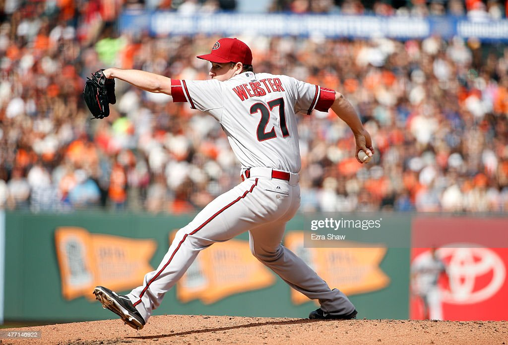 <a gi-track='captionPersonalityLinkClicked' href=/galleries/search?phrase=Allen+Webster&family=editorial&specificpeople=10504749 ng-click='$event.stopPropagation()'>Allen Webster</a> #27 of the Arizona Diamondbacks pitches against the San Francisco Giants at AT&T Park on June 13, 2015 in San Francisco, California.
