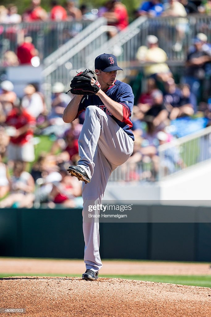 <a gi-track='captionPersonalityLinkClicked' href=/galleries/search?phrase=Allen+Webster&family=editorial&specificpeople=10504749 ng-click='$event.stopPropagation()'>Allen Webster</a> #64 of the Boston Red Sox pitches against the Minnesota Twins during a spring training game on March 1, 2014 at Hammond Stadium in Fort Myers, Florida.