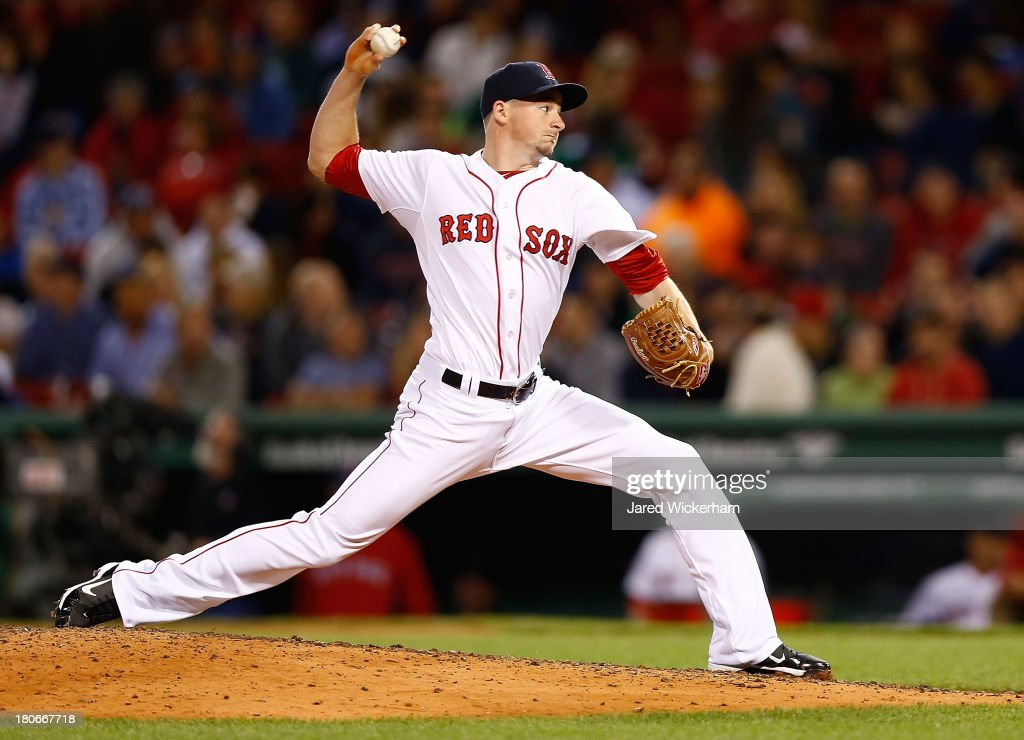 Allen Webster #64 of the Boston Red Sox pitches against the New York Yankees in the 9th inning during the game on September 15, 2013 at Fenway Park in Boston, Massachusetts.
