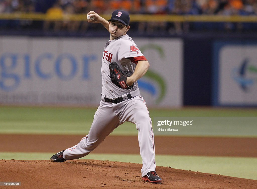 <a gi-track='captionPersonalityLinkClicked' href=/galleries/search?phrase=Allen+Webster&family=editorial&specificpeople=10504749 ng-click='$event.stopPropagation()'>Allen Webster</a> #64 of the Boston Red Sox pitches during the first inning of a game against the Tampa Bay Rays on August 30, 2014 at Tropicana Field in St. Petersburg, Florida.