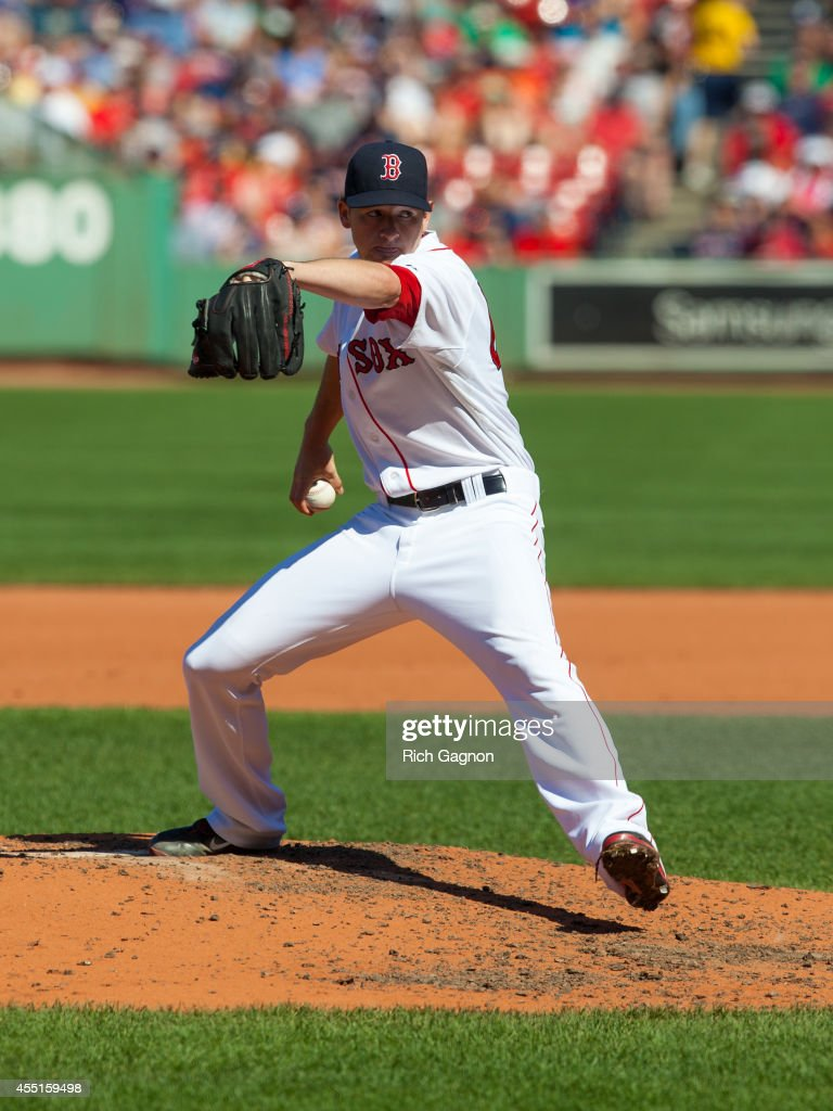 <a gi-track='captionPersonalityLinkClicked' href=/galleries/search?phrase=Allen+Webster&family=editorial&specificpeople=10504749 ng-click='$event.stopPropagation()'>Allen Webster</a> #64 of the Boston Red Sox pitches during the fourth inning against the Seattle Mariners at Fenway Park on August 24, 2014 in Boston, Massachusetts. The Mariners won 8-6.