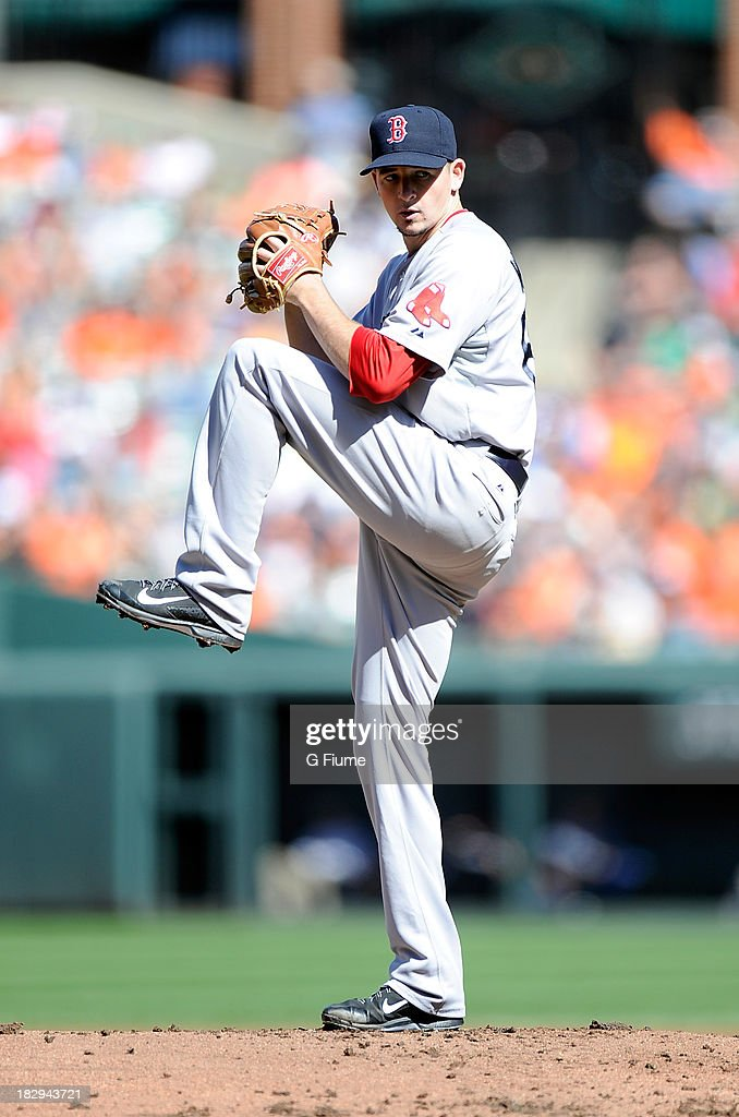 Allen Webster #64 of the Boston Red Sox pitches in the first inning against the Baltimore Orioles at Oriole Park at Camden Yards on September 29, 2013 in Baltimore, Maryland.