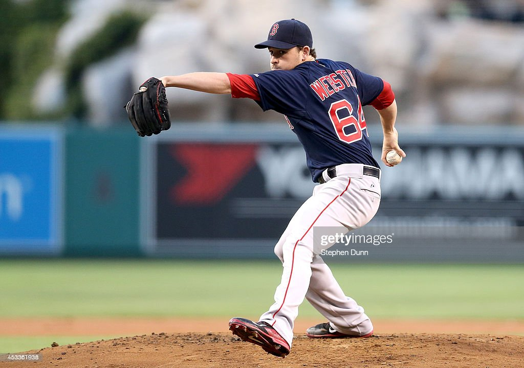 <a gi-track='captionPersonalityLinkClicked' href=/galleries/search?phrase=Allen+Webster&family=editorial&specificpeople=10504749 ng-click='$event.stopPropagation()'>Allen Webster</a> #64 of the Boston Red Sox throws a pitch against the Los Angeles Angels of Anaheim at Angel Stadium of Anaheim on August 8, 2014 in Anaheim, California.